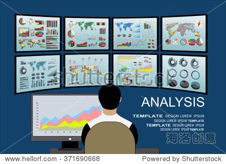仪表盘上的信息的分析.监控和统计数据,矢量插图.虚拟