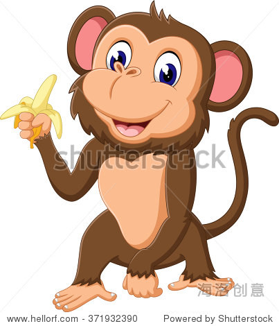 可爱的卡通插图的猴子-动物/野生生物-站酷海洛创意