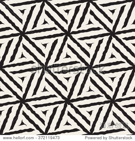 向量无缝黑白手绘线几何六角星图案抽象的背景
