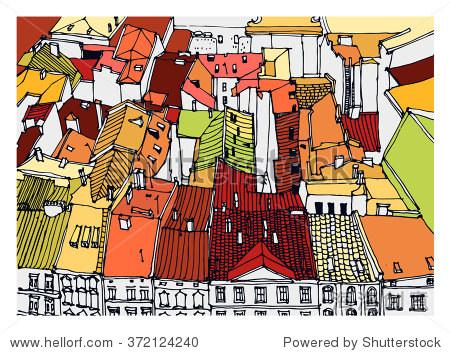 场景街道插图.手绘彩色线素描欧洲古城,历史建筑与建筑,屋顶.
