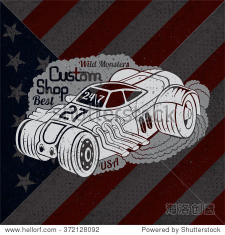 轮廓烟改装汽车的最佳定制店上美国国旗的背景
