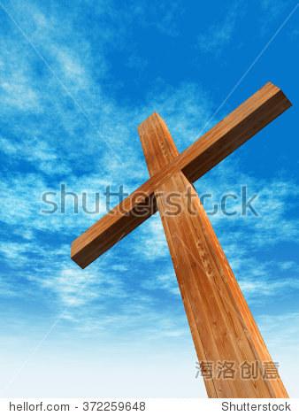 概念或概念上的木头十字架或宗教符号形状在一个蓝色的天空云层背景