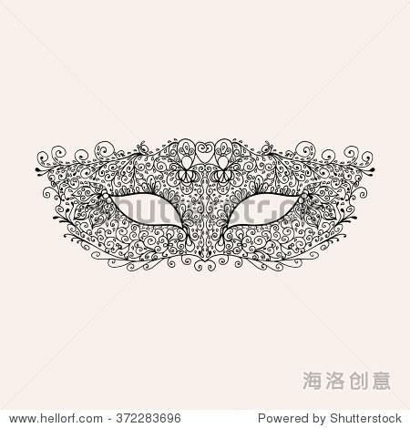 蕾丝狂欢节面具.指甲花佩斯利手绘涂鸦.抽象的花卉zentangle