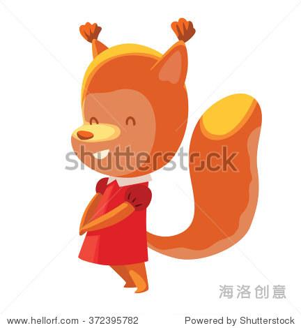 向量的卡通形象可爱的橙色松鼠,女生在红色小礼服站在