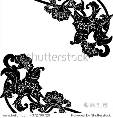 室内装饰花卉装饰玻璃艺术作品与喷砂文摘黑白色背景上的花朵.