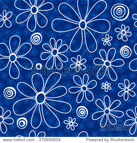 白色和浅蓝色的花,深蓝色的背景