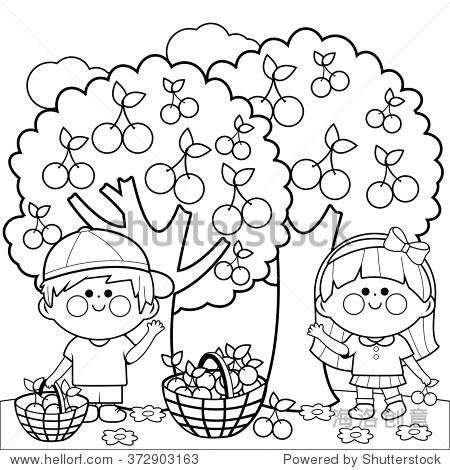 男孩和一个女孩樱桃树下摘樱桃 彩色书页面 自然,人物 站酷海洛图片