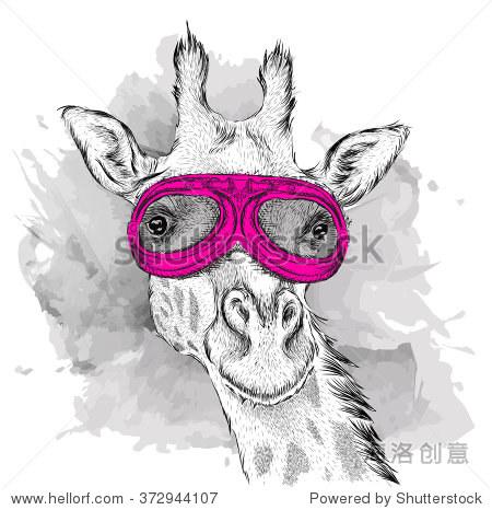 长颈鹿的肖像摩托车眼镜.矢量图