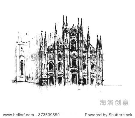 米兰大教堂.哥特式建筑.矢量手绘插图.