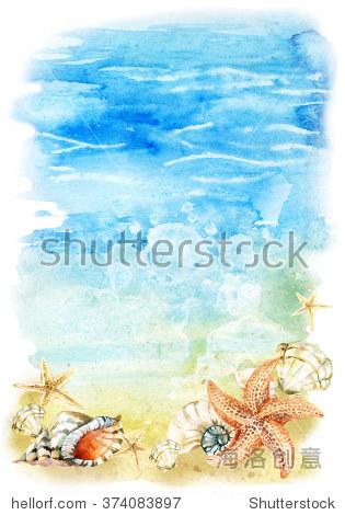 贝壳泡沫水彩海滩和海星类。海滨波和视频。手拍插图的嗝图片