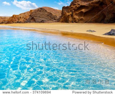 fuerteventura la缩减在西班牙加那利群岛pajara海滩