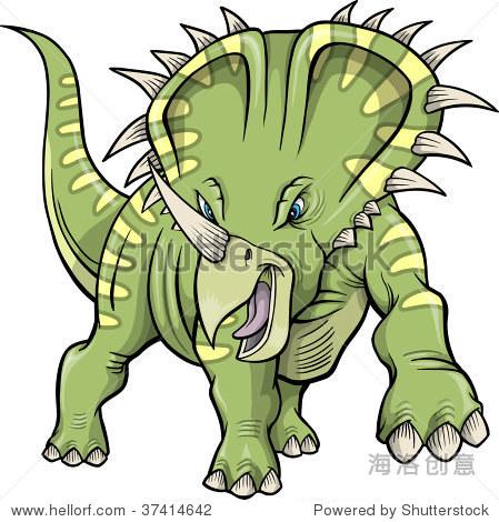 三角龙恐龙的矢量插图