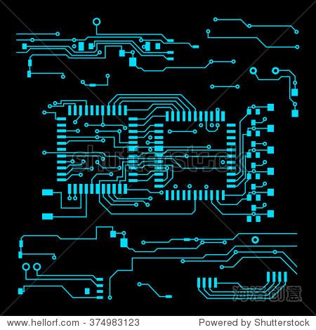 摘要向量与高科技背景电路板向量插图