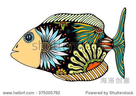 手绘鱼-Zentangle stylized Fish. Hand Drawn doodle vector illustrati图片
