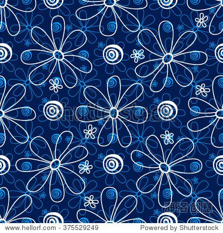 白色和浅蓝色的花,深蓝色的背景,手绘,向量.