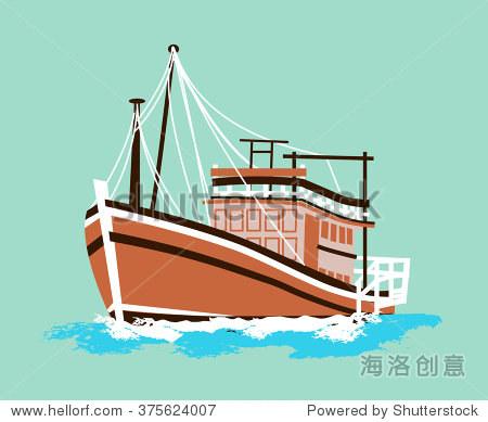 thai fishing boat - flat design vector图片