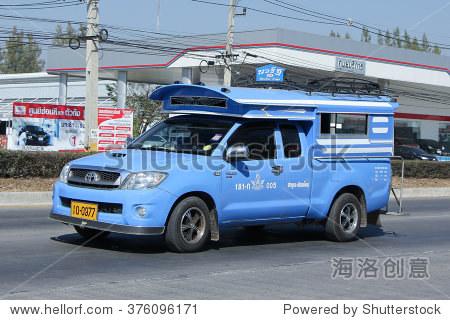 清迈,泰国2016年1月21日:蓝色皮卡出租车lamphun服务lamphun城市之间