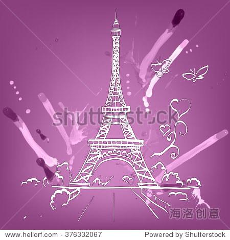 参观埃菲尔铁塔浪漫矢量插图心帧画水彩画颜料和蜡笔