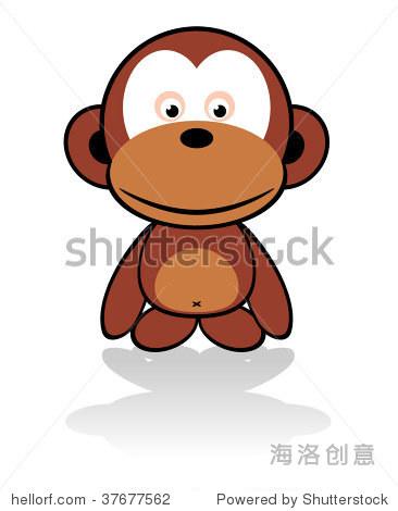可爱的猴子卡通向量 - 动物/野生生物,插图/剪贴图