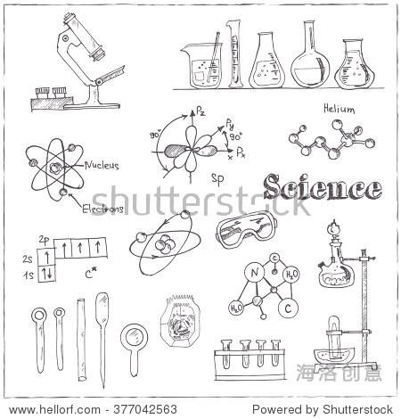 矢量手绘涂鸦科学实验室对象的集合.回到学校.
