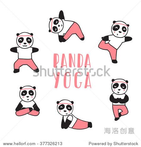 熊猫做瑜伽.向量的卡通插图 - 动物/野生生物,运动