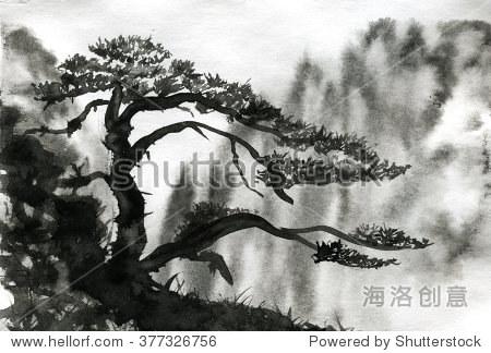 松树水彩画