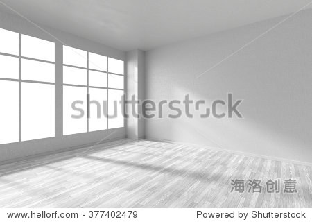 empty room with white hardwood parquet floor big