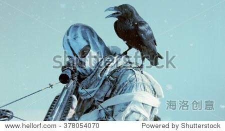 士兵与乌鸦和弩的面具.幻想.后启示录. - 动物/野生
