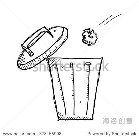 垃圾桶涂鸦,手绘涂鸦向量插图的垃圾扔在垃圾桶内.