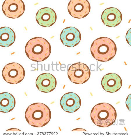 可爱的彩色卡通甜甜圈无缝矢量模式背景说明