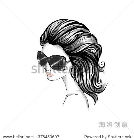 优雅女人的黑白肖像与波浪长发戴着墨镜