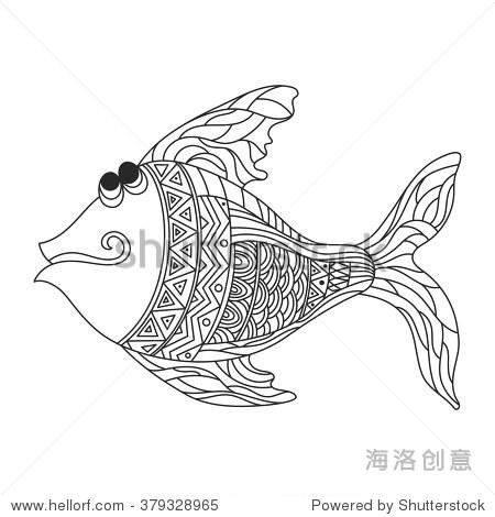 向量黑白手绘zentagle插图可爱的鱼.高的着色页面细节