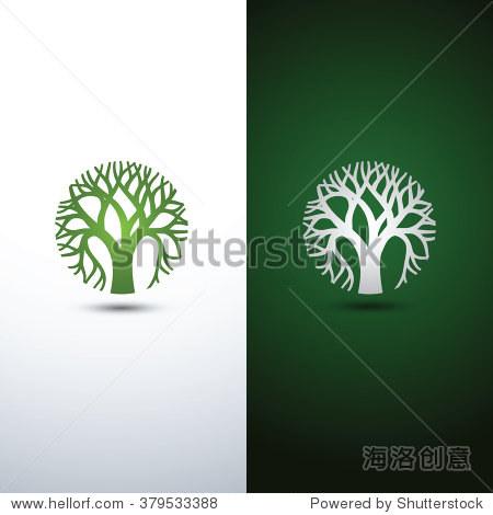 green tree logo design eco concept.vector illustration.图片