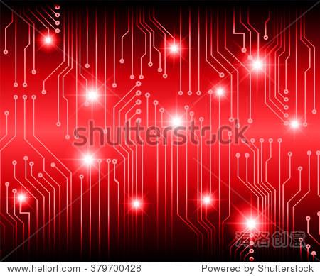 摘要向量与高科技背景红色的电路板.