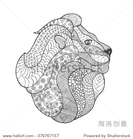 黑白色的手绘涂鸦的动物.民族图案的向量.