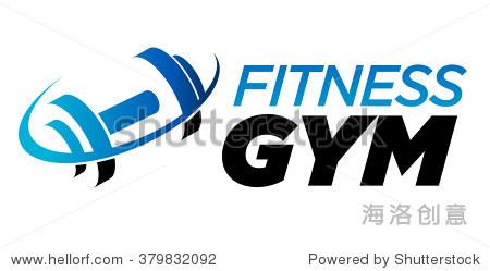 健身房健身杠铃标志图标与嗖的图形元素