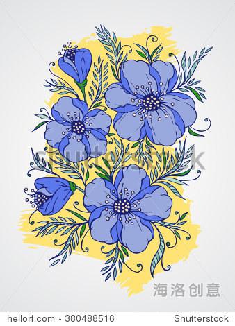 矢量手绘插图与花朵纹理水彩背景.在蓝色和黄色的颜色
