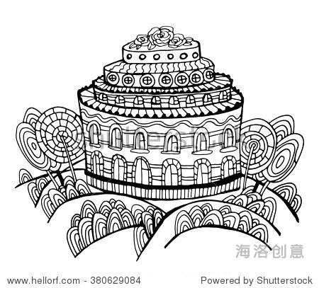 layered-cake房子和树木从糖果页面着色轮廓向量插图涂鸦