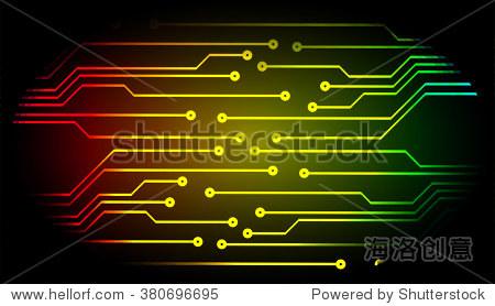 摘要向量与高科技背景红色黄色绿色电路板.