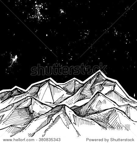 手绘矢量插图,山脉和星空.素描风格.你的设计的模板