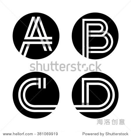 与阴影重叠.标志,字母组合,象征时尚设计.