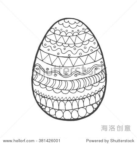 复活节彩蛋.黑白色的手绘矢量插图.