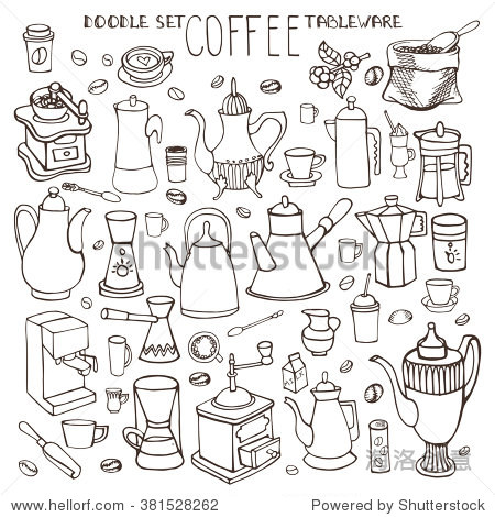 Coffee tableware doodles set.Vector hand drawn simple coffee theme sketches, various devices,teapot for coffee making. Vintage i