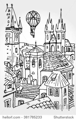 布拉格城市手绘 - 建筑物/地标,背景/素材 - 站酷海洛