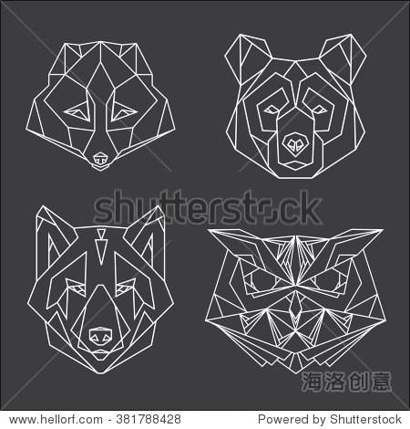 四维矢量集动物头像画线或三角形的风格,适合现代纹身