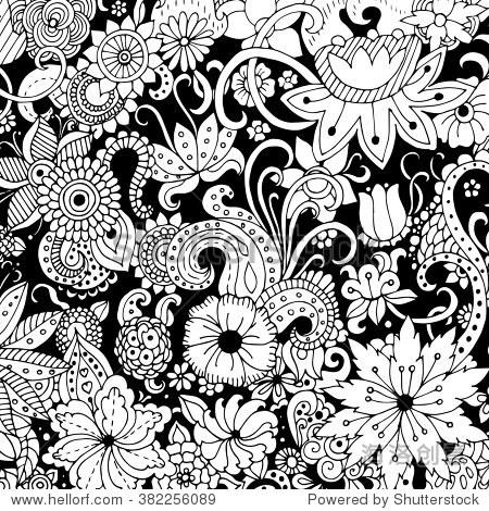用墨水手绘背景,涂鸦,花卉,树叶.