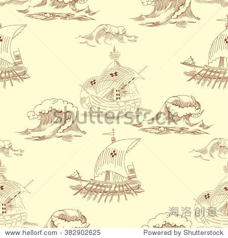 无缝模式与海浪和船只.手绘矢量图