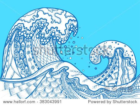 海浪zentangle涂鸦手绘向量