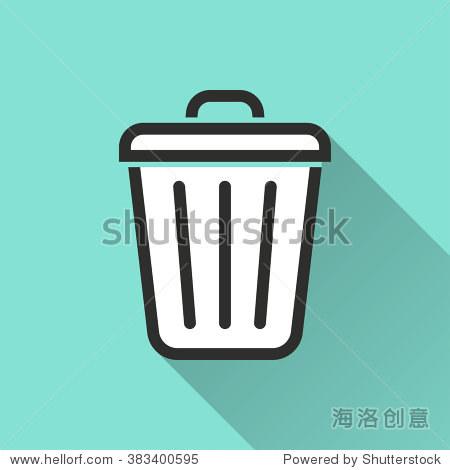 垃圾桶图标长长的阴影,平面设计.矢量插图.图片