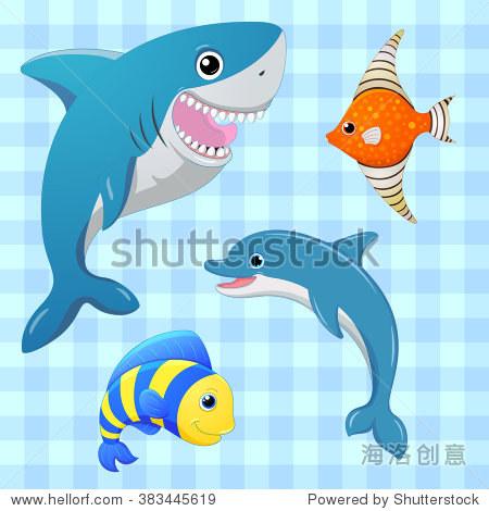 卡通可爱的性格.卡通鱼.手绘插图.鱼